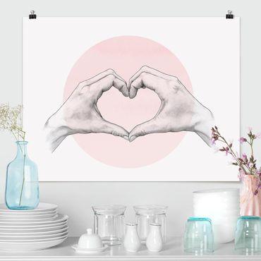 Poster - Illustrazione Cuore cerchio mani Rosa Bianco - Orizzontale 3:4