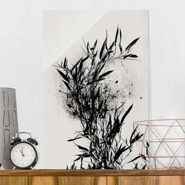 Quadro in vetro - Mondo vegetale grafico - Bambú nero - Verticale 3:2