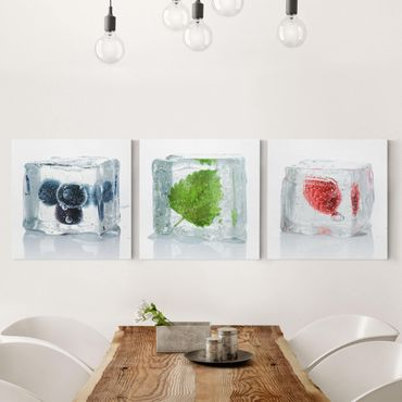 Stampa su tela 3 parti - Fruits And Lemon Balm In Ice Cube - Quadrato 1:1