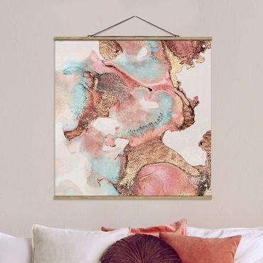 Foto su tessuto da parete con bastone - Elisabeth Fredriksson - Oro Acquerello Rosé - Quadrato 1:1