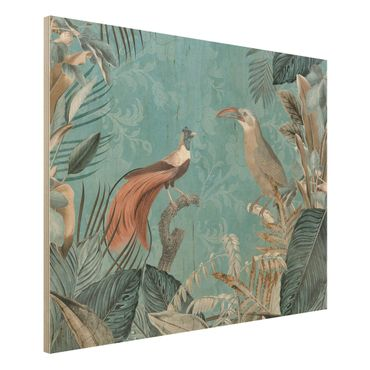 Stampa su legno - Vintage Collage - Birds Of Paradise - Orizzontale 3:4