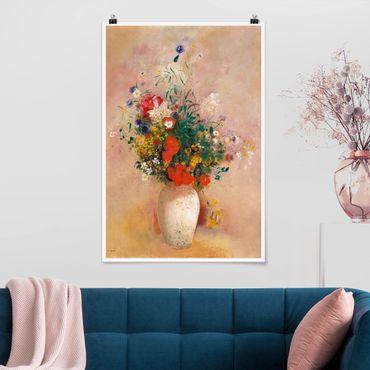 Poster - Odilon Redon - vaso con fiori (sfondo di colore rosa) - Verticale 3:2