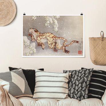 Poster - Katsushika Hokusai - Tiger in tempesta di neve - Orizzontale 2:3