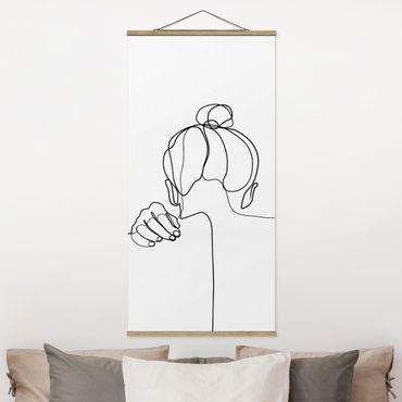 Quadro su tessuto con stecche per poster - Line Art collo donna Bianco e nero - Verticale 2:1
