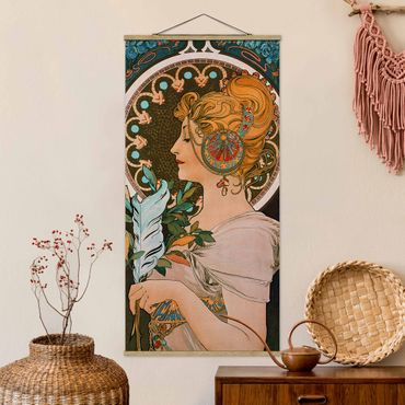 Foto su tessuto da parete con bastone - Alfons Mucha - Primavera - Verticale 2:1