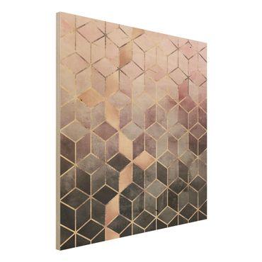 Stampa su legno - Rosa Grigio d'oro Geometria - Quadrato 1:1