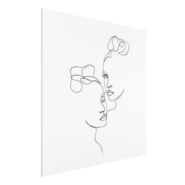 Stampa su Forex - Line Art Faces donne Bianco e nero - Quadrato 1:1
