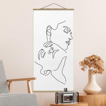 Quadro su tessuto con stecche per poster - Line Art Women Faces Bianco - Verticale 2:1