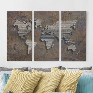 Stampa su tela 3 parti - Wooden grid world map - Verticale 2:1