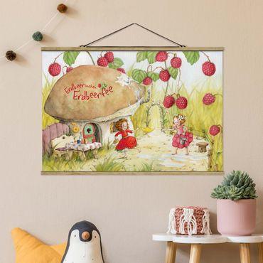 Foto su tessuto da parete con bastone - Strawberry Coniglio Erdbeerfee - Under The Raspberry Bush - Orizzontale 2:3