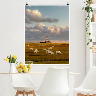 Poster - Mare del Nord Faro con Sheepherd - Verticale 4:3