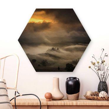 Esagono in legno - Nebbia Waves