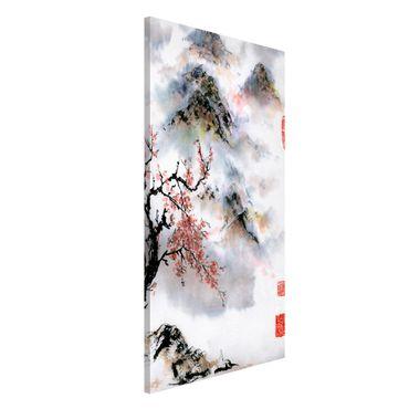 Lavagna magnetica - Giapponese disegno ad acquerello Ciliegio E Montagne - Formato verticale 4:3