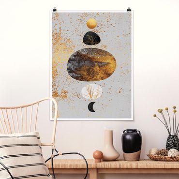 Poster - Sole e Luna in oro Luster - Verticale 4:3