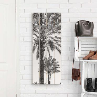 Appendiabiti in legno - Palme Nel Tramonto Bianco e nero - Ganci cromati - Verticale