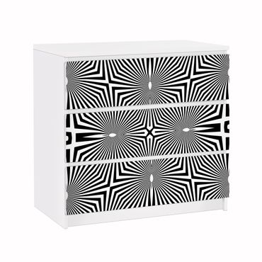 Carta adesiva per mobili IKEA - Malm Cassettiera 3xCassetti - Abstract ornament black and white