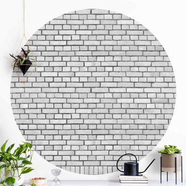 Carta da parati rotonda autoadesiva - Muro di mattoni bianco