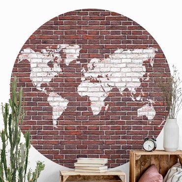 Carta da parati rotonda autoadesiva - Brick mappa del mondo
