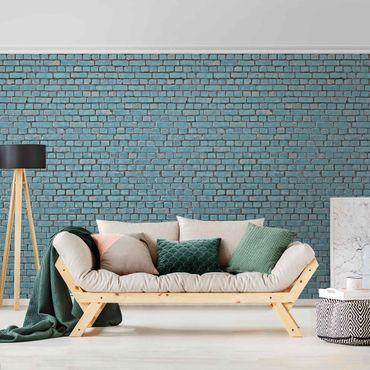 Carta da parati metallizzata - Carta da parati con muro di mattoni in turchese blu
