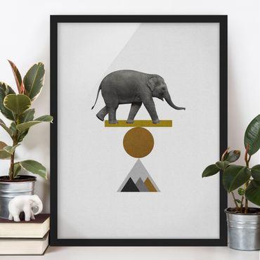 Poster con cornice - Elefante nell'arte dell'equilibrio
