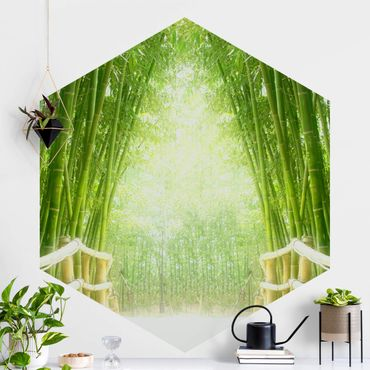 Carta da parati esagonale adesiva con disegni - Bamboo Way