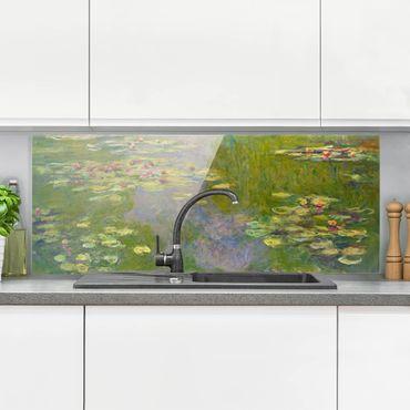 Spritzschutz Glas - Claude Monet - Grüne Seerosen - Panorama