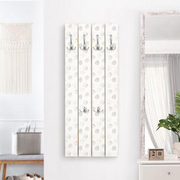 Appendiabiti in legno - Punti Acquerello Grey - Ganci cromati - Verticale