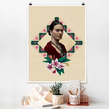 Poster - Frida Kahlo - fiori e Geometria - Verticale 4:3