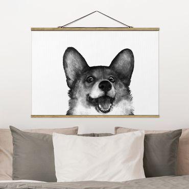 Foto su tessuto da parete con bastone - Laura Graves - Illustrazione Cane Corgi Bianco Nero Pittura - Orizzontale 2:3