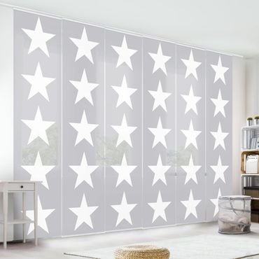 Tende scorrevoli set - Great White Stars On Gray