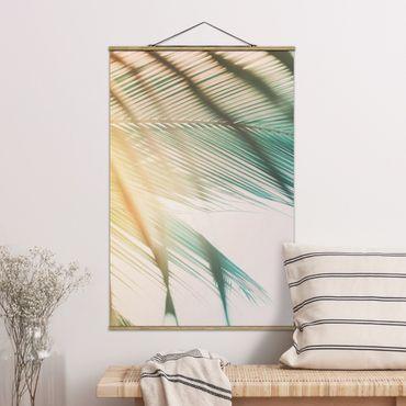 Foto su tessuto da parete con bastone - Piante tropicali palme al tramonto II - Verticale 3:2