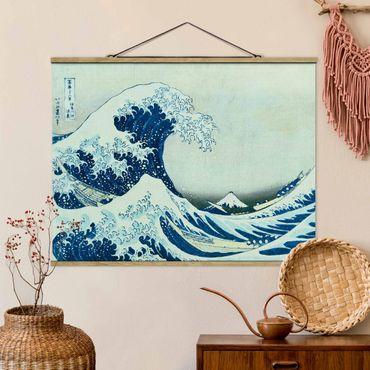 Foto su tessuto da parete con bastone - Katsushika Hokusai - La grande onda a Kanagawa - Orizzontale 3:4