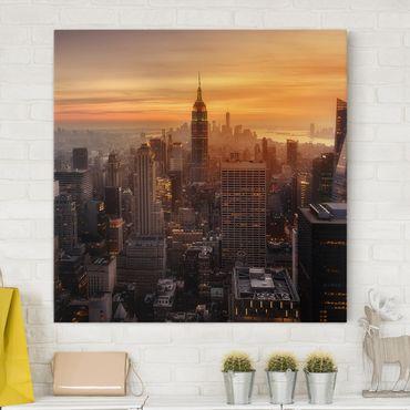 Stampa su tela - Manhattan Skyline Evening - Quadrato 1:1
