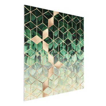 Stampa su Forex - Verde Foglie d'oro Geometria - Quadrato 1:1