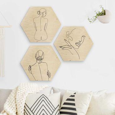 Esagono in legno - Legge Line Art Donne e nero Set Bianco