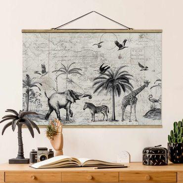 Foto su tessuto da parete con bastone - Vintage Collage - Exotic Mappa - Orizzontale 2:3