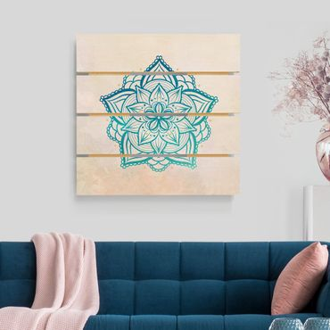 Stampa su legno - Mandala Hamsa mano Lotus Set oro blu - Quadrato 1:1