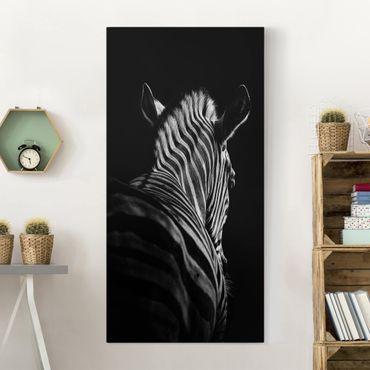 Stampa su tela - Scuro silhouette zebra - Verticale 1:2
