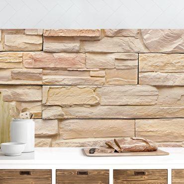 Rivestimento cucina - Effetto parete con pietre grandi e luminose