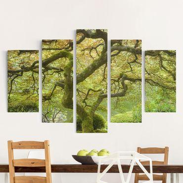 Stampa su tela 5 parti - Green Japanese garden