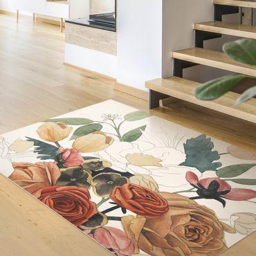 Tappeti in vinile - Disegno di bouquet di fiori in rosso e seppia II - Verticale 3:4