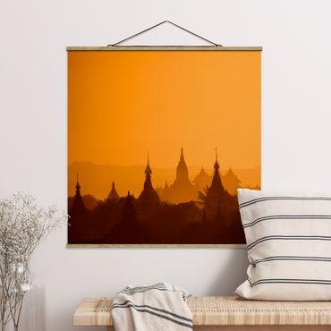 Foto su tessuto da parete con bastone - Temple City in Myanmar - Quadrato 1:1