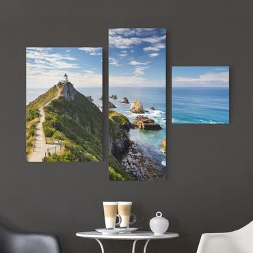 Stampa su tela 3 parti - Nugget Point Lighthouse and sea Zealand - Collage 1