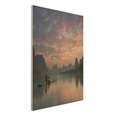 Quadro in legno - Alba sul fiume cinese - Verticale 3:4