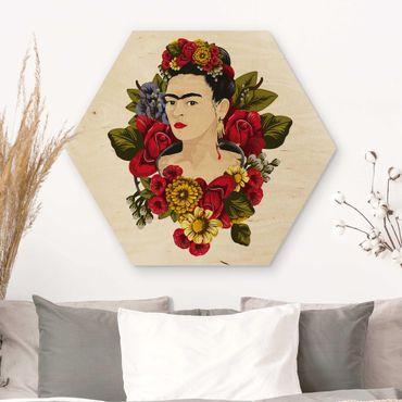 Esagono in legno - Frida Kahlo - Roses