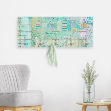 Appendiabiti in legno - Colorato collage - Pesci E Punti - Ganci cromati - Orizzontale