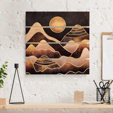 Stampa su legno - Elisabeth Fredriksson - Golden Sun astratti Monti - Quadrato 1:1