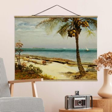 Foto su tessuto da parete con bastone - Albert Bierstadt - Costa nei tropici - Orizzontale 3:4