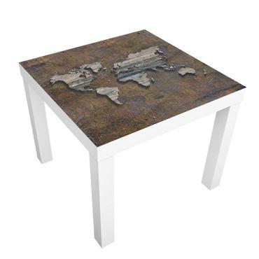 Tavolino design Wooden Grid World Map