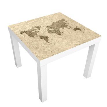 Tavolino design Paper World Map Beige Brown